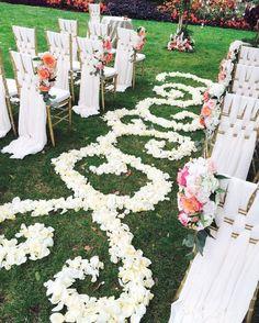 Adorably chic outdoor white wedding ceremony; Via Balconi Floral Design Studio Inc.