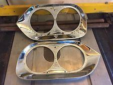 Vintage Pair 1960 Ford F-100 Pickup Chrome Headlight Bezel Grill Trim FoMoCo