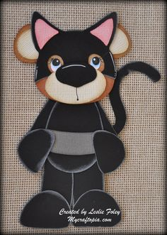 Cat Woman Bear Premade Scrapbooking Embellishment by MyCraftopia, $4.95