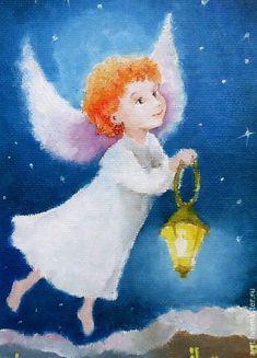 Купить Ангел с фонариком Открытка на день рождения - синий, ангел, ангелочек, ангелы, окрытки