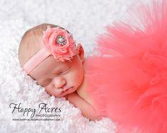 CORAL TUTU....newborn tutu, baby tutu with shabby  headband, newborn photography prop.....size nb-24month available on Etsy, $34.95