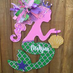 Mermaid Baby Door Hanger by craftigirlcreations on Etsy Mermaid Names, Mermaid Wall Art, Baby Mermaid, Baby Door Hangers, Wooden Door Hangers, Wooden Doors, Hospital Signs, Hospital Door, Room Doors