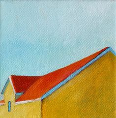 Modern Yellow Barn print of original oil painting by clairespaintings