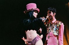 Mayte Garcia and Prince perform on stage on 'The Ultimate Live Experience' tour at Wembley Arena on March 4th, 1995 in London, United Kingdom. Photo: Peter Still