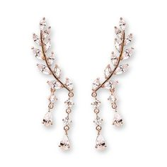 EVERU CZ Vine Jewelry Sweep Wrap Crystal Rose Gold Leaf Ear Cuffs Set Stud Earrings for Women *** Learn more by visiting the image link. (This is an affiliate link and I receive a commission for the sales) #Jewelry