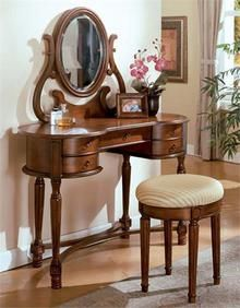 Antique Wood Bedroom Makeup Vanity Table Set with Padded Stool Mirror Large Home Office Furniture, Wood Bedroom Furniture, Furniture Vanity, Acme Furniture, Furniture Design, Mirrored Vanity Table, Vanity Table Set, Makeup Table Vanity, Vanity Stool