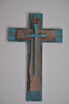 Rustic Unique Turquoise Cross One of a kind by heartifactsgallery by nita Wooden Crosses, Crosses Decor, Wall Crosses, Wood Projects, Woodworking Projects, Old Rugged Cross, Rustic Cross, Christian Crafts, Cross Art