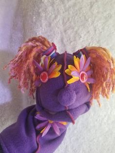 Your place to buy and sell all things handmade Fake Flowers, Orange Flowers, Button Nose, Bright Purple, Puppets, Paisley, Hair Color, Stripes, Etsy Shop