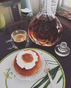 Portuguese style baoba and drop of cognac with black espresso  and cinnamon