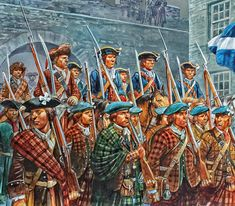 Jacobite army enters Edinburgh by Peter Dennis Military Art, Military History, Military Uniforms, Military Drawings, Scotland History, Early Modern Period, Celtic Warriors, Celtic Culture, 18th Century Clothing