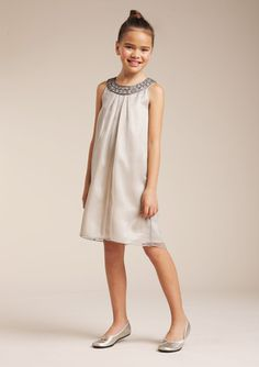 Us Angels Platinum Beaded Ringer Neck Dress