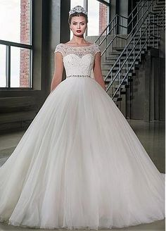Buy discount Marvelous Tulle Scoop Neckline Ball Gown Wedding Dresses With Lace Appliques at Dressilyme.com