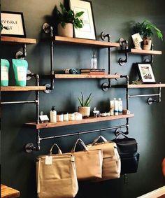 Retail display, shelving unit, wall shelving unit, opening s Wall Shelf Unit, Wall Shelving Units, Metal Shelves, Open Shelving, Floating Shelves, Industrial Shelves, Wall Units, Diy Pipe Shelves, Tv Units
