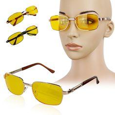 2016 fashion goggle Sonnenbrille UV Nachtsicht Fahren Gläser Gelb objektiv metall + Harz UV400 brillen