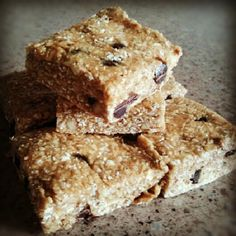 Protein Bars2 made these adapted w raisons cut chips. needs double batch doesn't make many~a