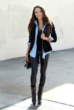 Layer a denim shirt under a chunky black cardigan or blazer.