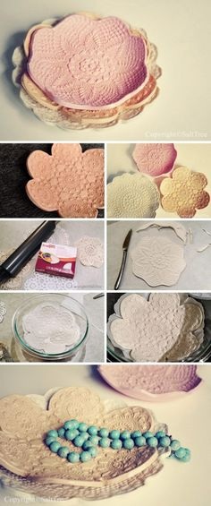 Clay imprint lace doily bowls DIY - Crafts Round Up of 15 fabulous crafts to make with vintage doilies www. Clay imprint lace doily bowls DIY - Crafts Round Up of 15 fabulous crafts to make with vintage doilies www. Paper Doily Crafts, Paper Lace Doilies, Doilies Crafts, Diy Paper, Doilies Crochet, Diy Crochet, Fabric Crafts, Sewing Crafts, Diy Clay