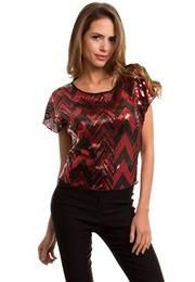 SEQUIN AND CHIFFON TOP