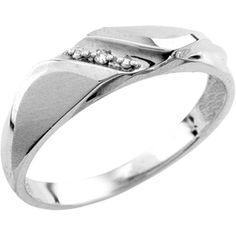 Jonc pour homme sertis d'un diamant de 0.01 Carats - en or blanc 10K