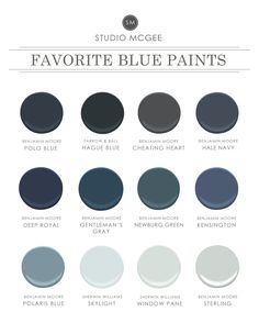 Ask Studio McGee Our Favorite Blue Paint is part of Home Accents Benjamin Moore - We rounded up our favorite blue paint! Exterior Paint Colors, Paint Colors For Home, House Colors, Paint Colours, Blue Gray Paint Colors, Grey Blue Paints, Hallway Paint Colors, Navy Colour, Neutral Paint