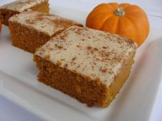 Pumpkin Bars frosted with Brown Sugar Cream Cheese Frosting. Substituted Whole Wheat flour for white flour and applesauce for oil
