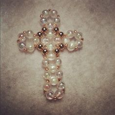 Beaded Cross no pattern, right angle weave stitch; translucent beads, brass beads and gold silver lined seed beads