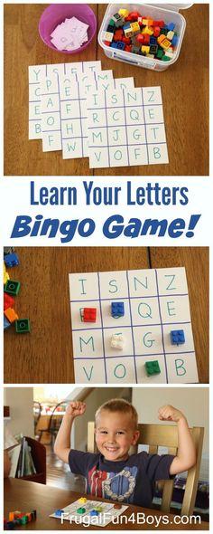 Bingo de lletres amb peces de lego