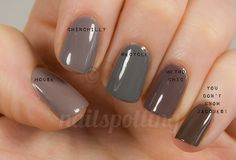 Amercian Apparel - Mouse  Essie - Chinchilly  China Glaze - Recycle  Sephora by OPI - Metro Chic  OPI - You Don't Know Jacques!