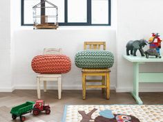 Knitted cylinder pillow, by Ferm Living (not a tutorial) Deco Kids, Deco Design, Kid Spaces, Danish Design, Kids Decor, Floor Rugs, Boy Room, Kids Bedroom, Room Inspiration