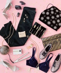 "FOR THE GIRL WHO LOVES TO GO OUT: 79. Evangeline Heels, SOPHIA WEBSTER, $675; 80. Compact Styler, TANGLE TEEZER (Available at Asos), $25; 81. Gold Sparkle Nail Coat in ""Rough Noir,"" CHANEL, $27; 82. Velvet Leggings, GAP, $60; 83. Portico Earrings, LULU FROST, $225; 84. Star Velvet Bralet, TOPSHOP, $90; 85. Crosby Card Case, RAG & BONE (Available at Shopbop), $125; 86. Clutch Situation 5-Piece Pro Brush Set, .mark, $34; 87. Gold Sphere Bag, H&M"