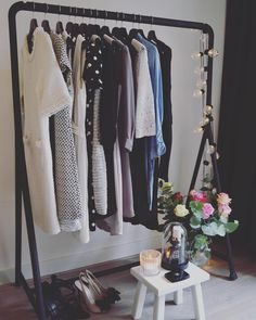 pretty basic little ikea hack using a turbo clothes rack and some old pine floorboards home. Black Bedroom Furniture Sets. Home Design Ideas