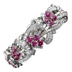 1stdibs   Art Deco Diamond and Ruby Bracelet