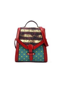 The satchel bag made of PU, featuring national flag print to main, magnetic snap to flap, detachable shoulder strap.