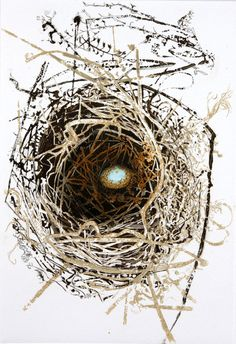 Julia Manning - St Kevin's Hand  Etching, 24cm x 32cm  St Kevin was an Irish Saint who, while meditating, put his hand out of the window of his hut and a blackbird laid an egg in it! A blackbird abandoned this nest concealed in the wisteria on our fence.