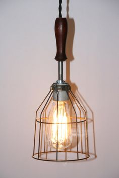 Just Custom Lighting - Listings View Wood Handle Industrial Hanging Pendant Light With Vintage Style Wire Cage Guard And Wooden Handle. Wooden Handles, Light, Handmade Lighting, Hanging Pendants, Ceiling Lamp, Pendant Light, Edison Light Bulbs, Wood Handle, Hanging Pendant Lights