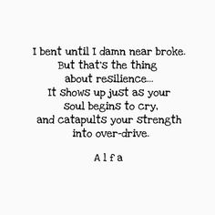 I bent until I damn near broke, But that's the thing about resilience - it shows up just as your soul begins to cry, and catapults your strength into overdrive.