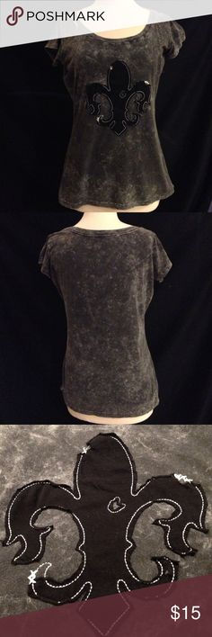 Rock 47 Destruction Style Fleur de lis Tee This shirt was made to look worn but is actually in like new condition. it also has the white cross stitch on the top of the shoulder and at the bottom side hems. bust 43 length 25.5. ... light stretch Wrangler Tops Tees - Short Sleeve