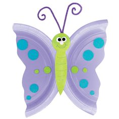 butterfly - fold plate in half and cut zig-zags or curves. Open and cut down center. Make the body from construction paper. Have kids decorate with beads, Pom poms, etc
