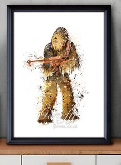 Star Wars Chewbacca Watercolor Art Poster Print  by GenefyPrints