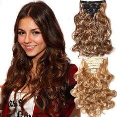 Клипы в Наращивание Волос Длинные Вьющиеся Поддельные части волос 16 клип 160 г 7 шт./компл. в false наращивание волос Многоцветный дешевые парики