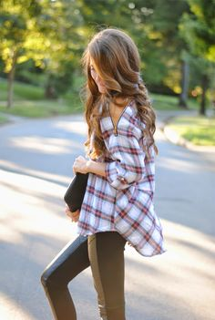 Leather legging and plaid shirt