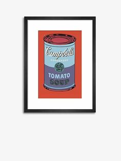 Andy Warhol - 'Campbell's Soup Can' 1 Wood Framed Print, 42.2 x 31cm, Red/Multi
