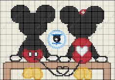 Mickey & Minnie in love cross stitch point du croix punto de cruz Cross Stitch Baby, Cross Stitch Animals, Cross Stitch Charts, Cross Stitching, Cross Stitch Embroidery, Embroidery Patterns, Disney Stitch, Disney Cross Stitch Patterns, Cross Stitch Designs
