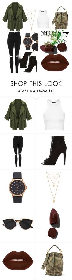 """Military Mood"" by danielacammacho on Polyvore featuring Topshop, River Island, Marc Jacobs, Forever 21, Christian Dior, Lipstick Queen, Lime Crime y Yves Saint Laurent"