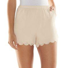 LC Lauren Conrad Scallop-Hem Soft Shorts - Women's