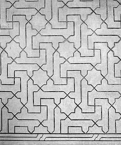 Image SPA 0415x featuring decorated area from the Alhambra, in Granada, Spain, showing Geometric Pattern using stucco or plasterwork.