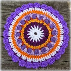 Sunset Mandala Motif By Rita Lippert - Free Crochet Pattern - (grammaritascroche. Mandala Motif, Crochet Mandala Pattern, Crochet Circles, Crochet Cross, Crochet Round, Doily Patterns, Crochet Chart, Crochet Squares, Crochet Doilies