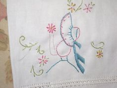 Vintage Tea Towel Hand Embroidered by me Colonial Gal ECS. $9.00, via Etsy.