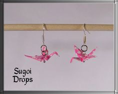 Origami Crane Earrings by SugoiDrops on Etsy