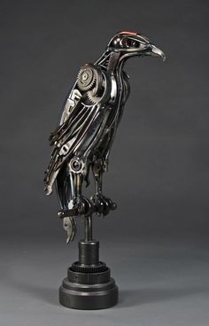 """Aetos"" - found object and welded steel eagle sculpture."